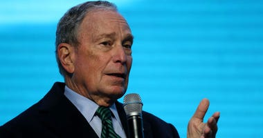 Democratic presidential candidate former New York City mayor Michael Bloomberg speaks during a discussion about climate change with former California Gov. Jerry Brown during the American Geophysical Union Conference on December 11, 2019 in San Francisco,