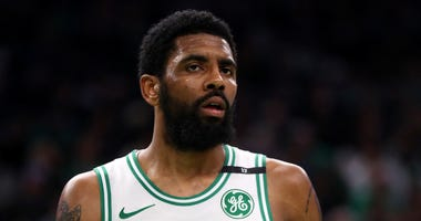 Kyrie Irving of the Boston Celtics looks on during a loss to the Milwaukee Bucks in the Eastern Conference semifinals.