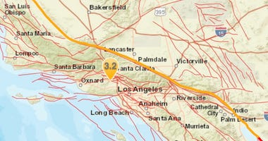 Los Angeles earthquake map