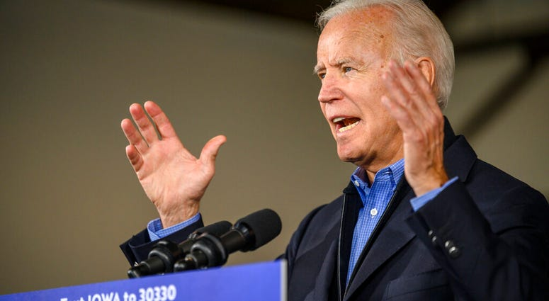 Democratic presidential candidate former Vice President Joe Biden speaks to local residents, Saturday, Nov. 23, 2019, in Des Moines, Iowa.