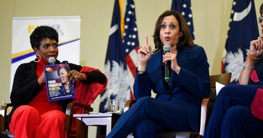 Actress Sheryl Lee Ralph, left, looks on as Democratic presidential hopeful Kamala Harris speaks during a round table on black women's issues on Saturday, Nov. 23, 2019, in Columbia, S.C.