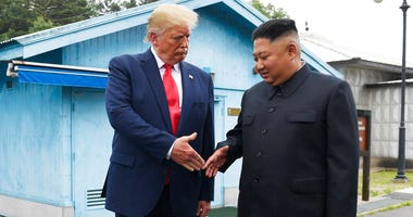 In this June 30, 2019, file photo, U.S. President Donald Trump meets with North Korean leader Kim Jong Un at the border village of Panmunjom in the Demilitarized Zone, South Korea.