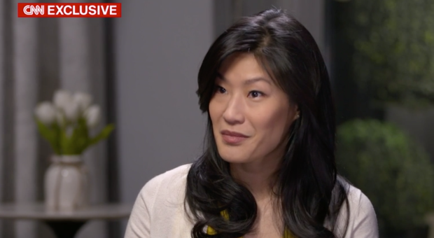 Evelyn Yang seen in a screengrab from an interview with CNN.