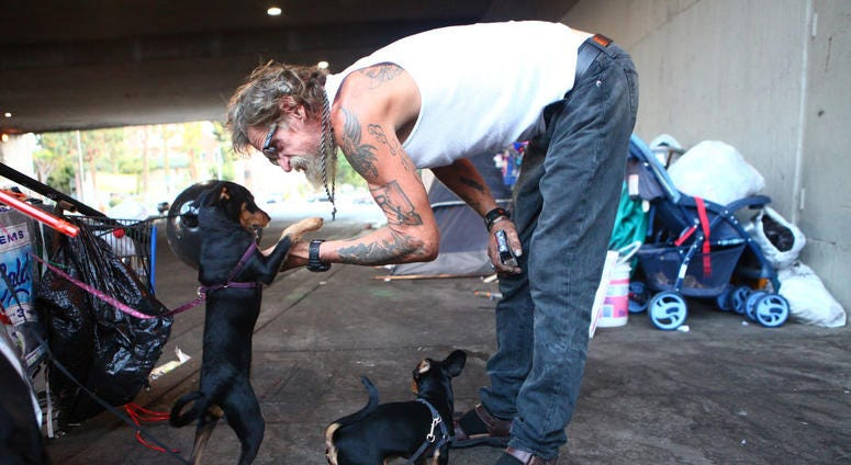 Antonio DeSilva, who is currently homeless, plays with his dogs outside his tent on September 09, 2019 in Los Angeles, California.