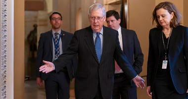 Senate Majority Leader Mitch McConnell, R-Ky., arrives for a closed meeting with fellow Republicans as he strategizes about the looming impeachment trial of President Donald Trump, at the Capitol in Washington, Tuesday, Jan. 7, 2020.