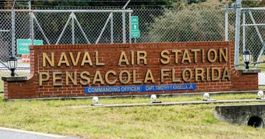 A general view of the atmosphere at the Pensacola Naval Air Station following a shooting on December 06, 2019 in Pensacola, Florida.