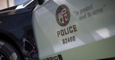 A hybrid police car is seen at the unveiling of two new Ford Fusion hybrid pursuit-rated Police Responder cars at Los Angeles Police Department headquarters on April 10, 2017 in Los Angeles, California.
