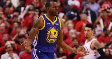 Andre Iguodala celebrates a basket late in the Golden State Warriors' win over the Toronto Raptors in Game 2 of the 2019 NBA Finals.