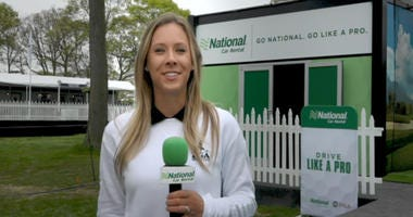 """Teryn Gregson tours the """"Go Like A Pro Lesson Zone"""" at the PGA Championship at Bethpage Black."""