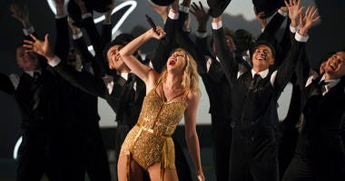 Taylor Swift, winner of the artist of the decade award, performs a medley at the American Music Awards on Sunday, Nov. 24, 2019, at the Microsoft Theater in Los Angeles.