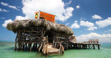 Floyd's Pelican Bar in the middle of the Caribbean Sea