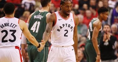 Kawhi Leonard and Fred Van Vleet in game 4 of the Eastern Conference Finals