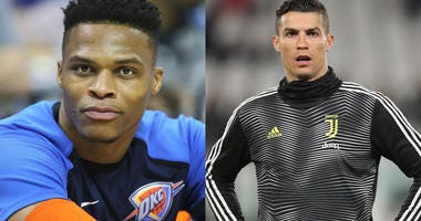 Russell Westbrook of the Oklahoma City Thunder and Cristiano Ronaldo of Juventus in their warmup gear