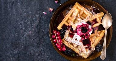 Waffles and fresh berries