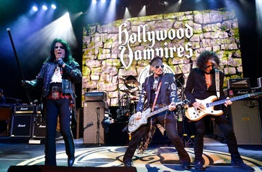 Alice Cooper, Johnny Depp and Joe Perry of The Hollywood Vampires perform at The Greek Theatre