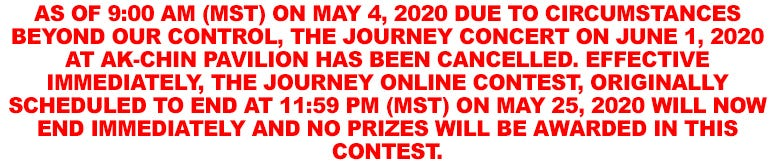 Journey Contest Cancelled