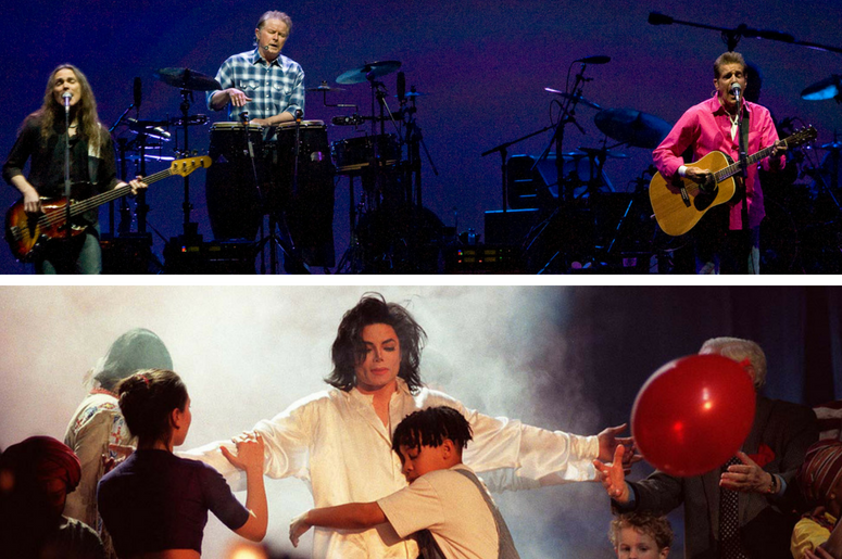 The Eagles (from left to right) Timothy B. Schmit, Don Henley, and Glenn Frey perform. / File photo dated 19/02/96 of Michael Jackson performing a version of his Number One hit 'Earthsong' at a star-studded Brit award ceremony at London's Earl's Court.