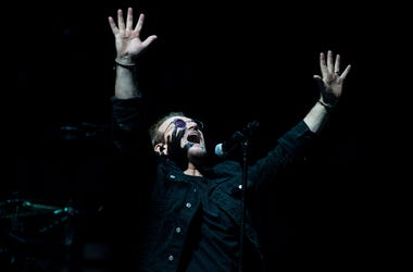 June 13, 2018; Philadelphia, PA, USA; U2 frontman Bono performs during a concert at the Wells Fargo Center. Mandatory Credit: Joe Lamberti/Courier Post via USA TODAY NETWORK
