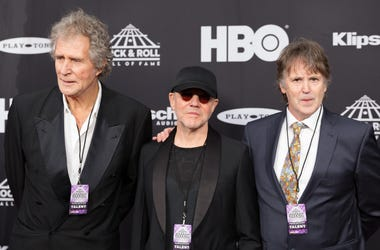 John Illsley, Alan Clark, and Guy Fletcher from Dire Straits on the red carpet before the 2018 Rock and Roll Hall of Fame Induction ceremony, Saturday, April 14, 2018, in Cleveland OH. (Photo by Max Arnold/Sipa USA)