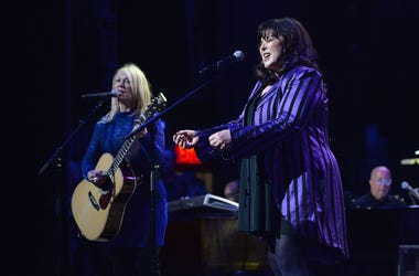 Musicians Nancy Wilson and Ann Wilson perform during the 3rd Annual LOVE ROCKS NYC concert at the Beacon Theatre in New York, NY, March 7, 2019. (Photo by Anthony Behar/Sipa USA)