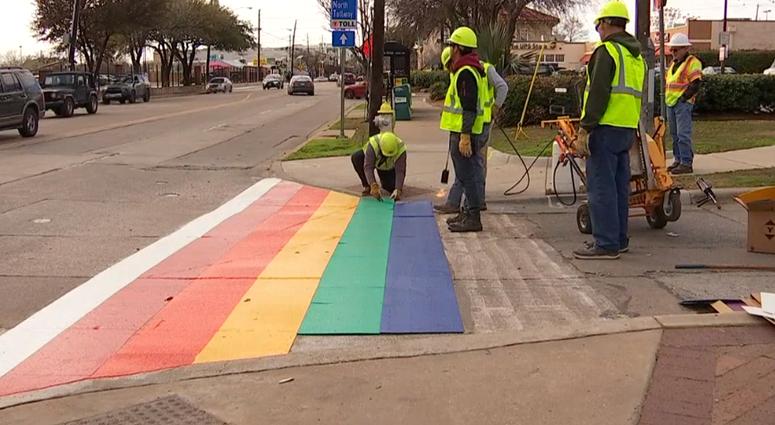 Rainbow Crosswalks in Oak Lawn Neighborhood