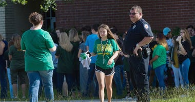 Santa Fe High School students return to school, Tuesday, May 29, 2018, 11 days after a shooter killed 10 people, in Sata Fe, Texas.