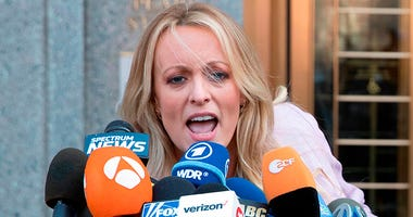 In this April 16, 2018 photo, adult film actress Stormy Daniels outside federal court in New York. Stormy Daniels filed a defamation complaint in federal court in New York on Monday. At issue is a tweet Trump made in which he dismissed a composite sketch