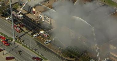 Dallas Fire Department Battling Fire in Design District