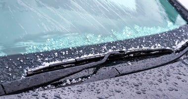 Rain and sleet on car window