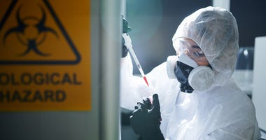 laboratory scientist in protective workwear,