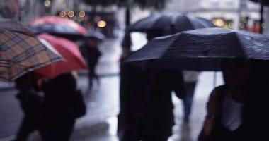 Rainy Weather, People with Umbrellas