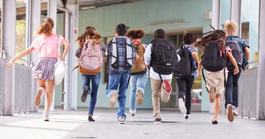 School, Children running to school