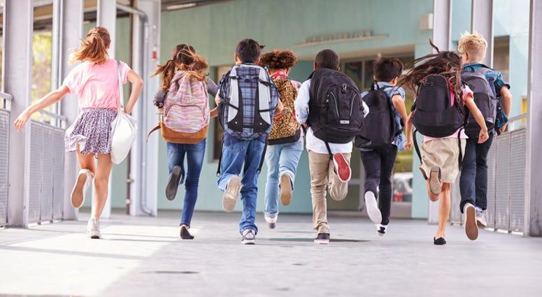 School, Children running to school
