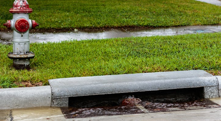 Water flowing into a storm drain