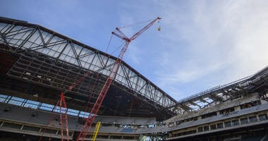 A view of the retraceable roof during a team media day field event at Globe Life Field.
