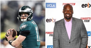 Carson Wentz warms up for the Philadelphia Eagles; Donovan McNabb on the red carpet