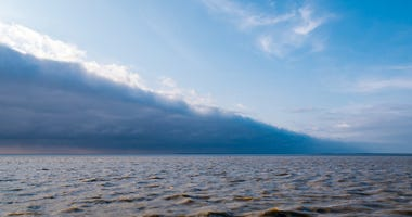 Leading edge with storm clouds of cold weather front