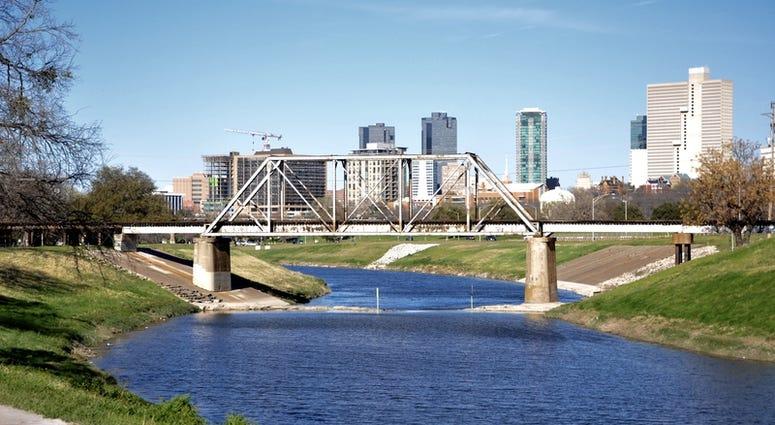 Fort Worth Skyline behind the Trinity Park Bridge