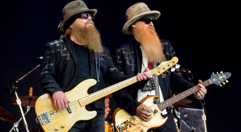 Dusty Hill and Billy Gibbons from the rock band ZZ Top