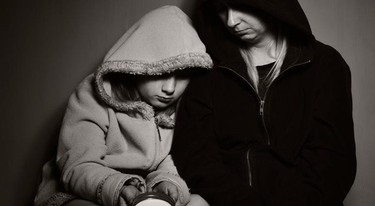 Homeless mother with her daughter