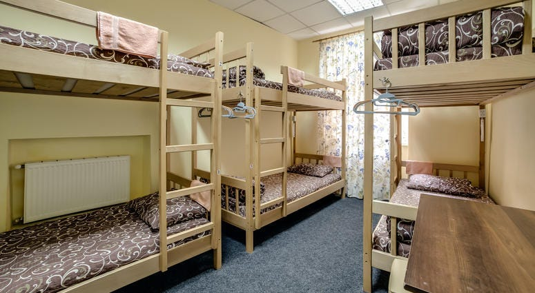 hostel room with bunk beds