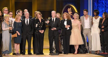 """Ken Corday and the cast and crew of """"Days of Our Lives"""" accept the award for outstanding drama series at the 45th annual Daytime Emmy Awards at the Pasadena Civic Center on Sunday, April 29, 2018, in Pasadena, Calif."""