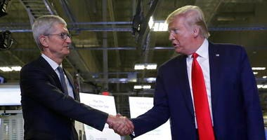 Apple CEO Tim Cook and President Donald Trump
