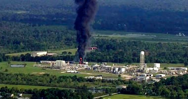 smoke rises from the Arkema Inc. owned chemical plant in Crosby, near Houston, Texas.