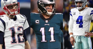 Tom Brady, Carson Wentz and Dak Prescott