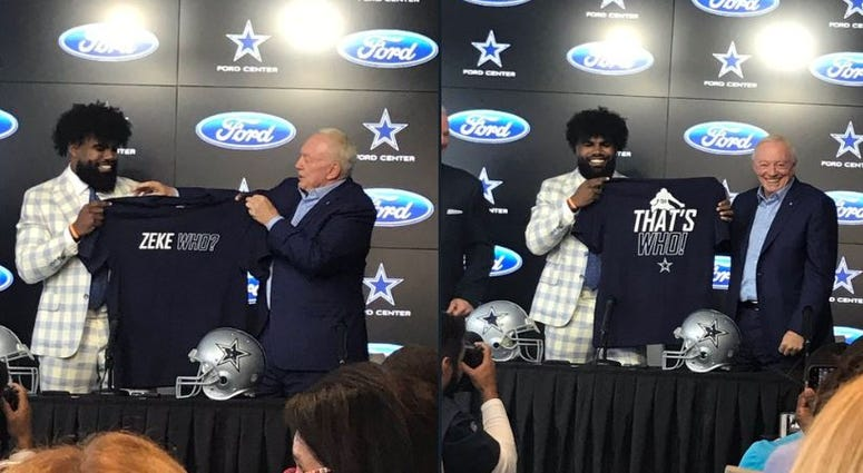 Ezekiel Elliott & Jerry Jones holding the 'Zeke Who' t-shirt