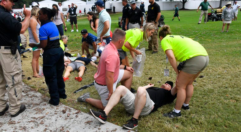 Fans injured by lightning strike at PGA