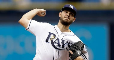 Tampa Bay Rays starting pitcher Jacob Faria delivers to the Texas Rangers during the first inning of a baseball game Wednesday, April 18, 2018, in St. Petersburg, Fla.