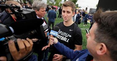 NFL Draft prospect UCLA quarterback Josh Rosen talks with the media after a Play Football Clinic Wednesday, April 25, 2018, in Arlington, Texas. The 2018 NFL Draft begins Thursday, April 26, 2018, at AT&T Stadium.