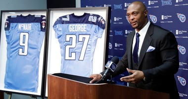 Former Tennessee Titans running back Eddie George speaks during an announcement at the Titans' NFL football training facility Wednesday, June 12, 2019